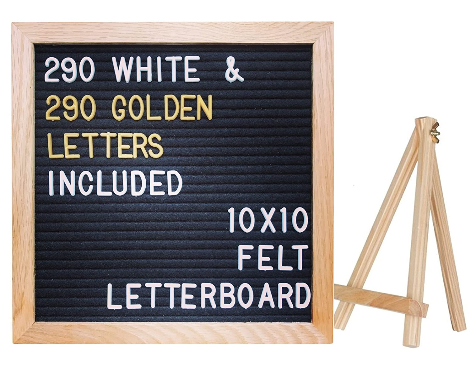 "10""x10"" Premium Black Felt Letter Board with 290 White and EXTRA 290 Gold Characters 