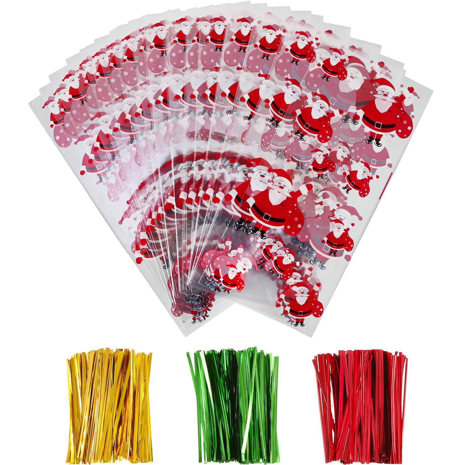 Style 1 100 Pieces Christmas Cellophane Bags Candy Gift Bags Goodies Treat Bags with 150 Pieces Twist Ties for Christmas Party Packaging Supplies