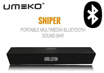 UMEKO [SNIPER] Bluetooth - 4.0 Soundbar, 2 x 5W Powerful 2.1 Channel 3D Surround Stereo [MATTE FINISH] Wireless Bluetooth Soundbars Speakers Support 3.5mm AUX,USB Driver,TF Card Input for iPhone /iPad at amazon