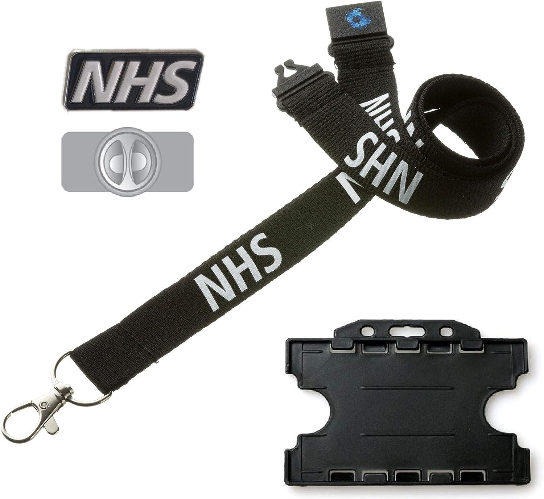 Hi Quality Black NHS Lanyard with Safety Breakaway /& Single Black Badge Holder