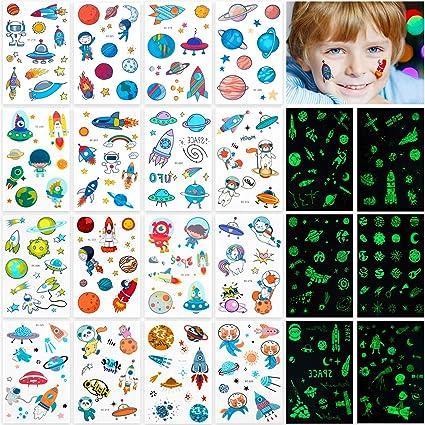 22 hojas de tatuajes espaciales, 300 patrones que brillan en la ...