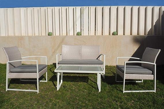 KitGarden - Conjunto Mobiliario Terraza/Jardín, 2 Sillones + 1 Sofás dos plazas + 1 Mesa, Blanco/Gris, Barbados: Amazon.es: Jardín