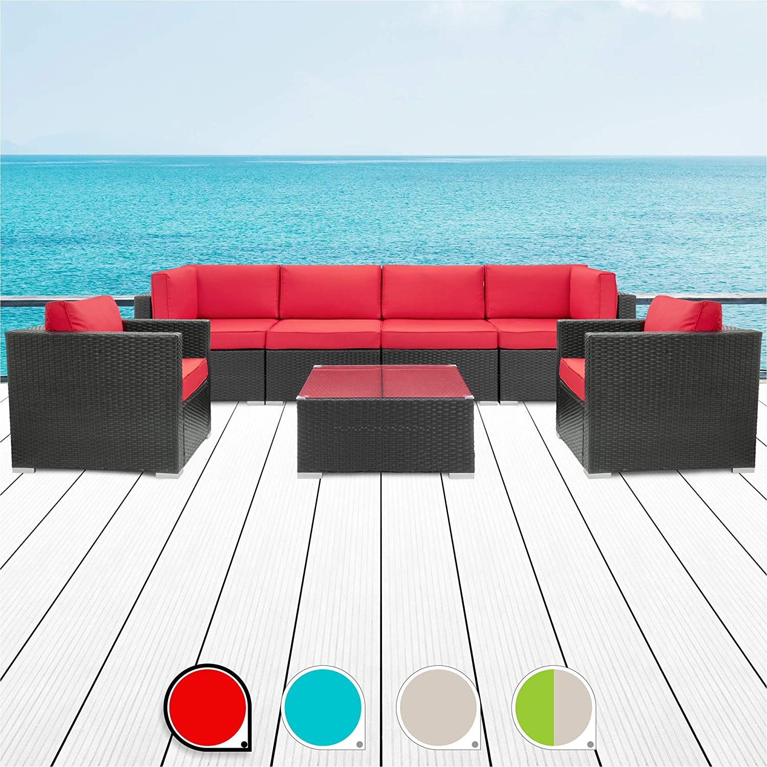 Walsunny 7pcs Patio Outdoor Furniture Sets,Low Back All-Weather Rattan Sectional Sofa with Tea Table Washable Couch Cushions Black Rattan Red Armrest Version