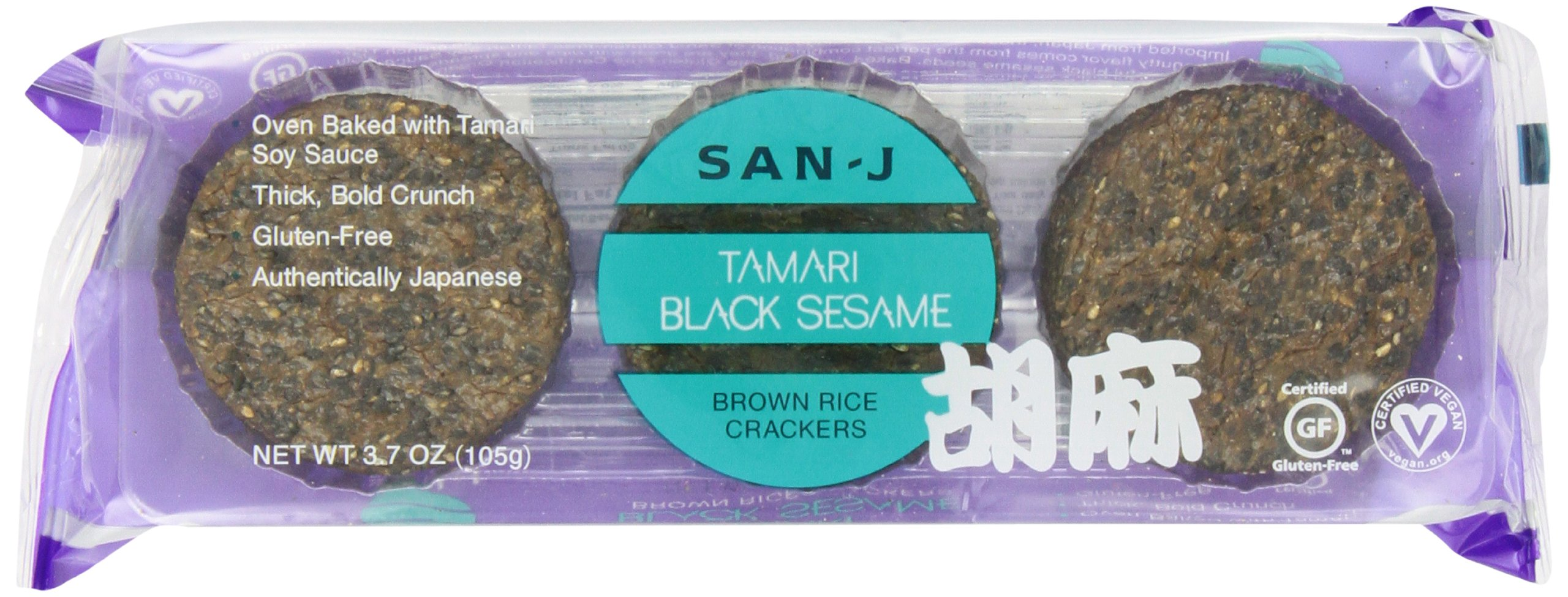 San-J Black Sesame Rice Crackers, 3.7-Ounce Packages (Pack of 12) by San-J