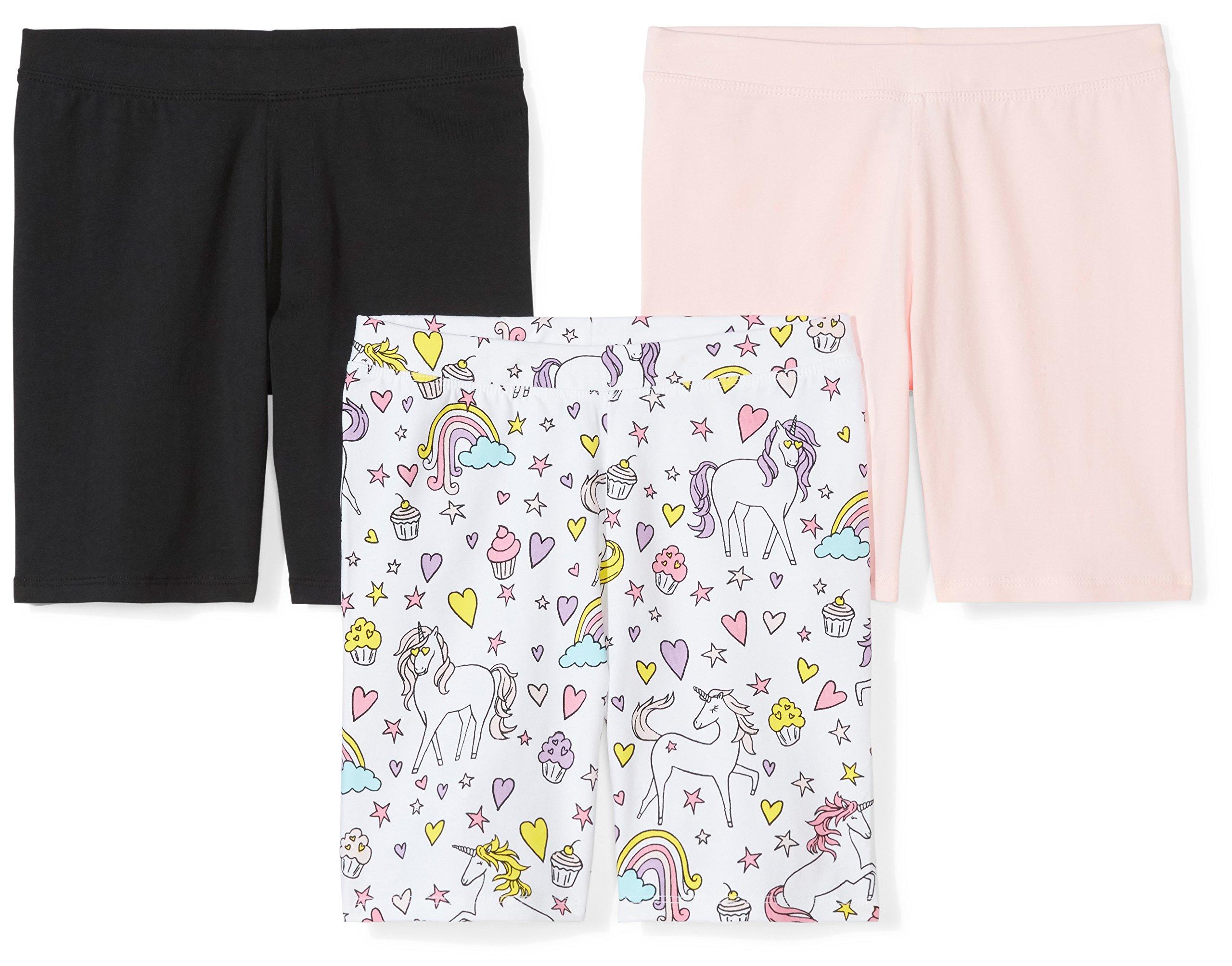 Spotted Zebra Girls' Toddler 3-Pack Bike Shorts, Black/Pink/Unicorn, 4T