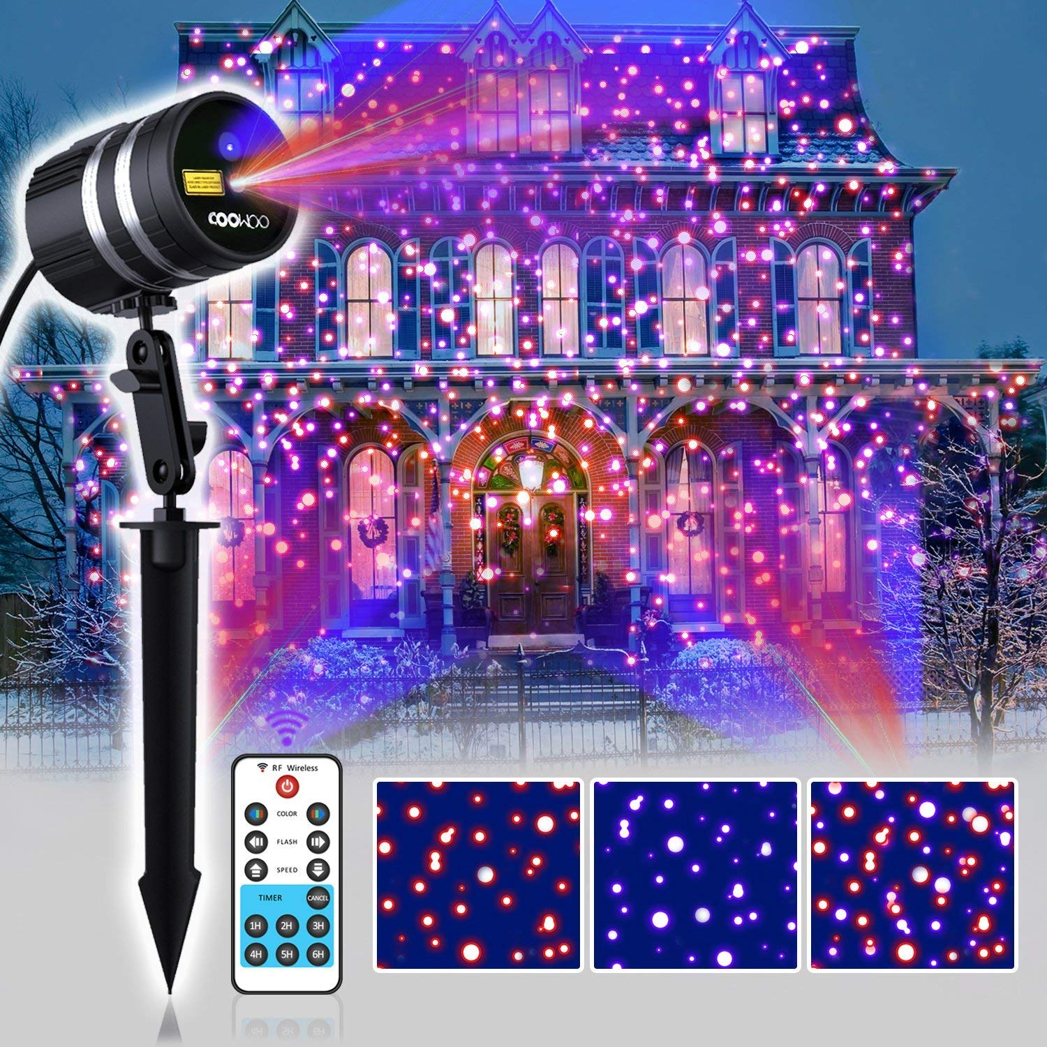 Christmas Decoration Laser Lights, Red and Green Laser Starry Show with Blue LED Light Background with Built-in Automatic Timer Control for Indoor& Outdoor UPADALWAYS TECHNOLOGY INC.