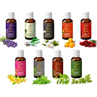 Precious Aromas Pure Lavender, Lemongrass, Jasmine, Mandarion, Rose, Ylang Ylang, Peppermint, Tea Tree and Citronella Essential Oils, 100% Natural and Therapeutic Grade, 15 ml (Pack of 9)