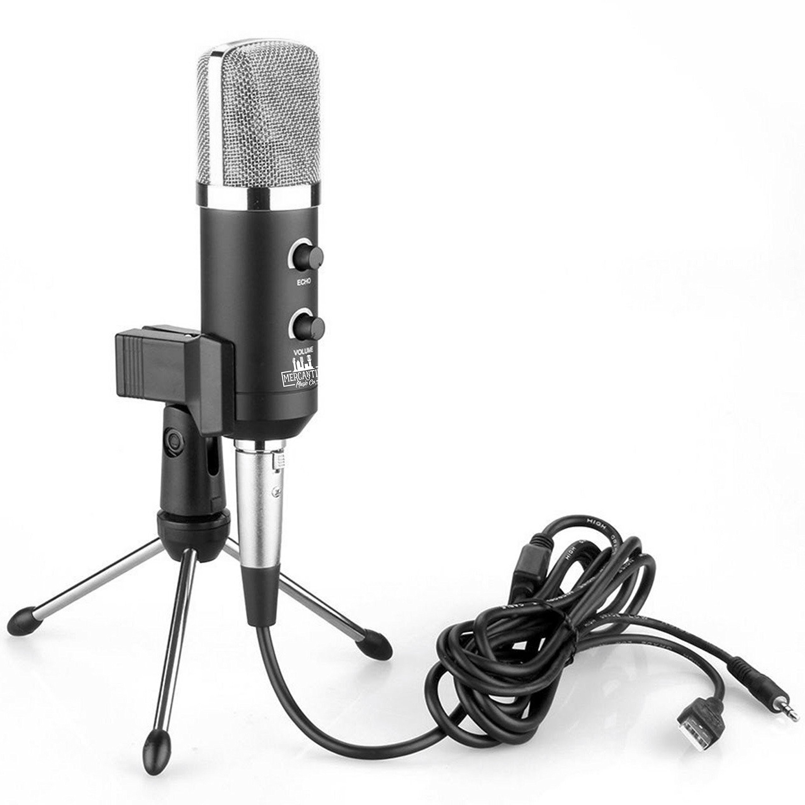 MM-412 - USB Microphone - Mercantile Music Co. - Podcast Kit - Mic Stand, Cable and Clip - Volume and Echo Control - PC and Mac Compatible - Quality Home Recording of Vocals and Instruments