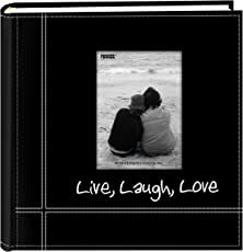 """Pioneer Photo Albums Embroidered Live, Laugh, Love Black Sewn Leatherette Frame Cover Album for 4""""x6"""" Prints"""