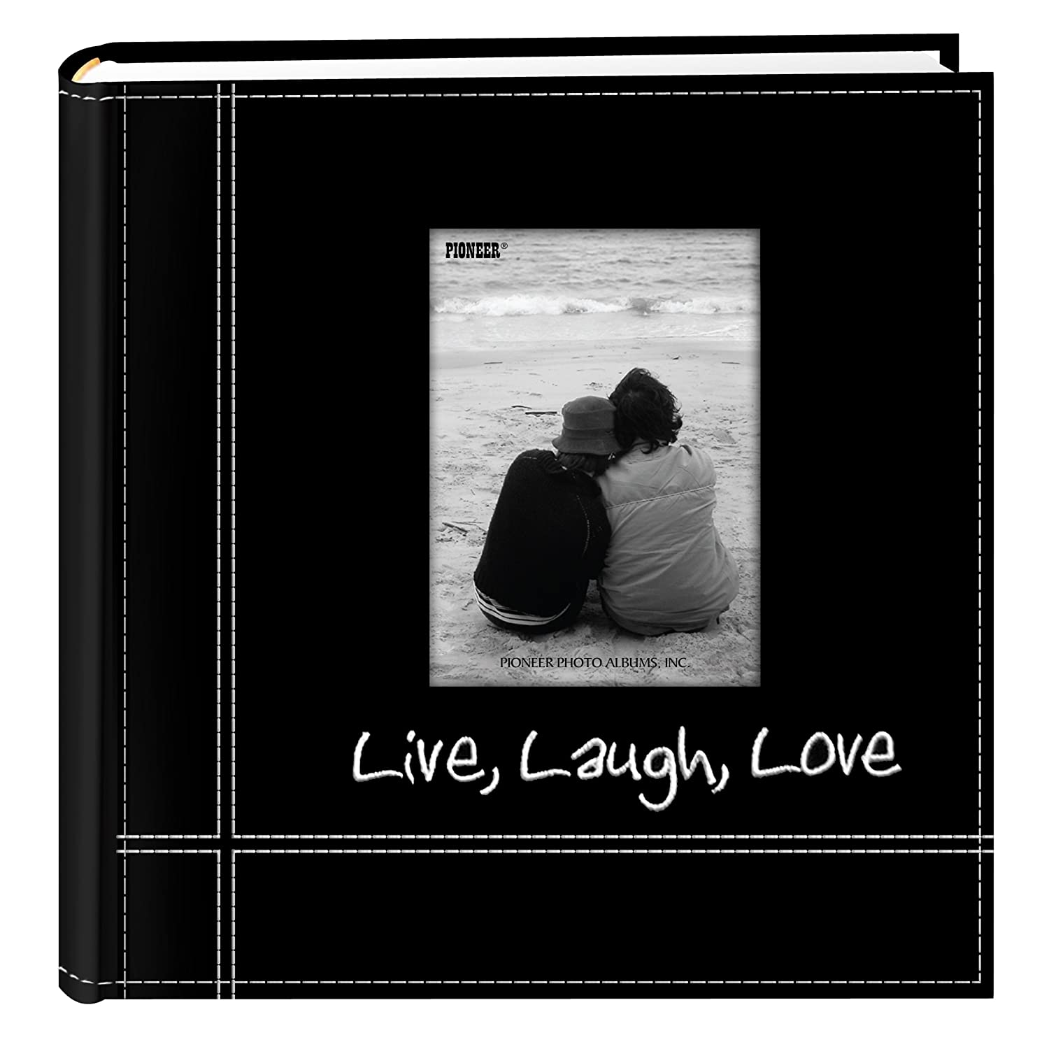 Pioneer Photo Albums Embroidered Live Laugh Love Black Sewn Leatherette Frame Cover Album For 4x6 Prints