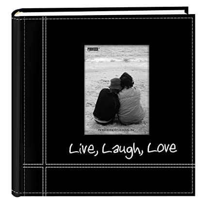 Pioneer photo albums embroidered live laugh love black sewn leatherette frame cover album for