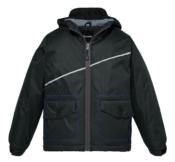 225265a7b Wantdo Boy s Hooded Windbreaker Fleece Ski Jacket Hooded Waterproof ...