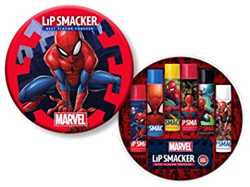 Amazon.com : Lip Smacker Spider-Man 6 Piece Lip Balm Tin - Super Strawberry, Scientific Blueberry, Radioactive Lemon, Crime Fighting Chery, ...