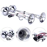 Amarine Made 12v Marine Boat Horn 125db Stainless Steel Dual Trumpet Horn for Ship Truck RV Trailer, Low and High Tone , 18-1