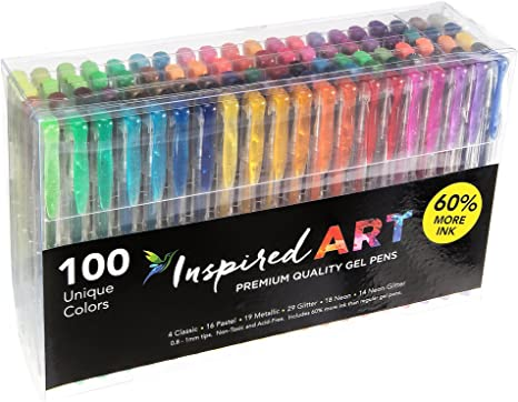 100 Color Gel Pen Set Color Art Glitter Pens Neon Coloring Ink Painting Craft