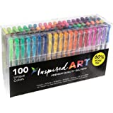 Gel Pen Set for Colouring Art - 100 Unique Colours (No Duplicates) Superior Quality, Free Flowing. XXL Multi-Pack Size - 60% Extra Ink. Includes Glitter Pens, Metallic, Neon, Pastel & Classic Shades