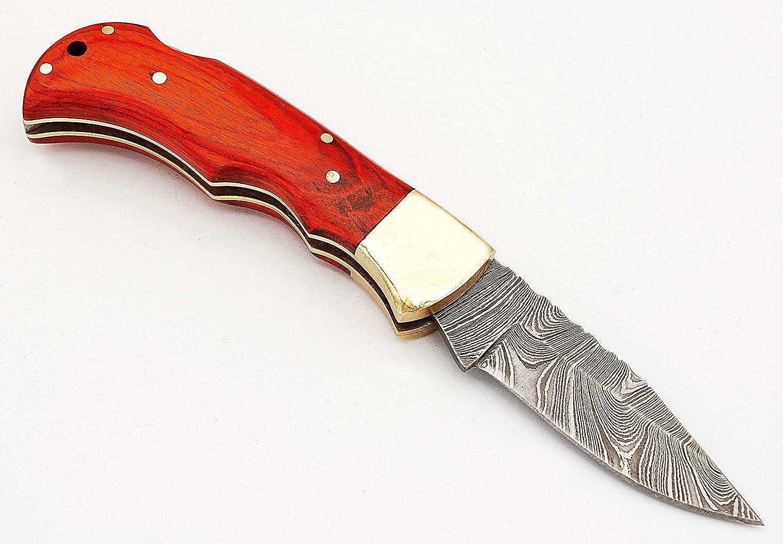 RA-5167-O Custom made damascus steel folding lock back knife orange wood handle and brass bolster,