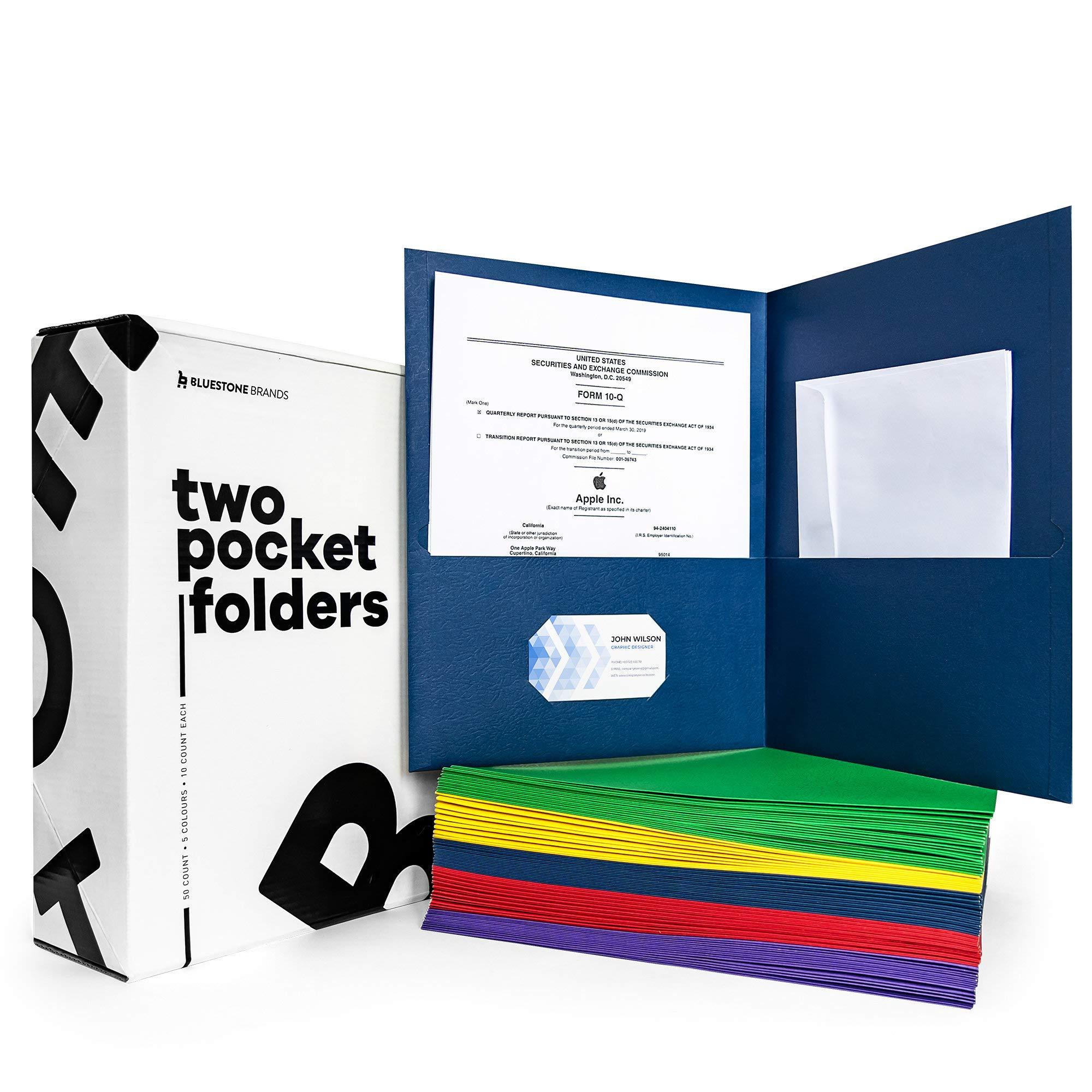 Folders with Pockets (50 Pack) - Two Pocket Folders Bulk - 2 Pocket Folders - Pocket Folders No Prongs - School Folders with Pockets - Pocket File Folders - Oxford - Paper Letter // Bluestone Brands