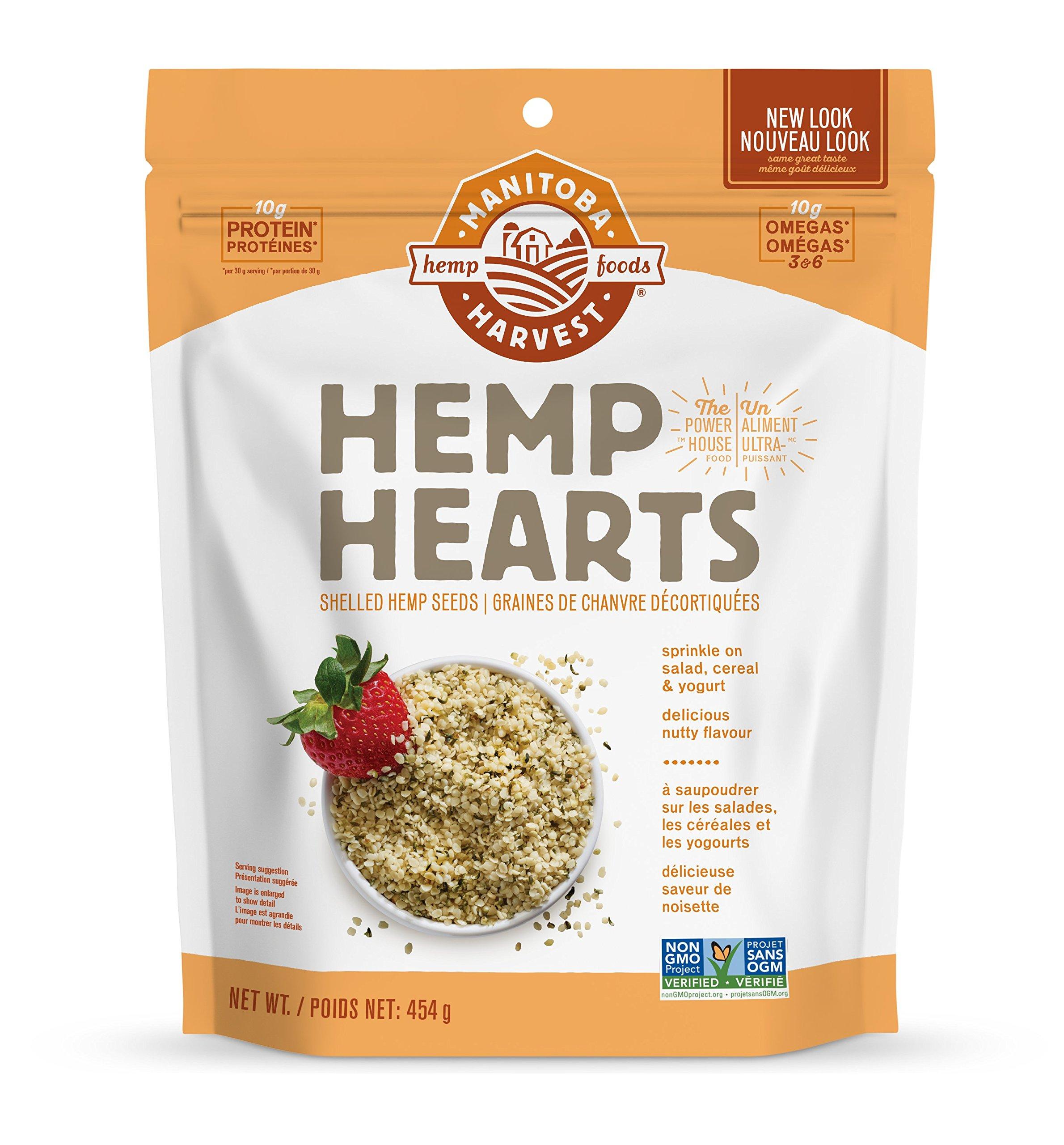Manitoba Harvest Hemp Hearts Raw Shelled Hemp Seeds, Natural, 454g Bag - Packaging May Vary - Imported from Canada