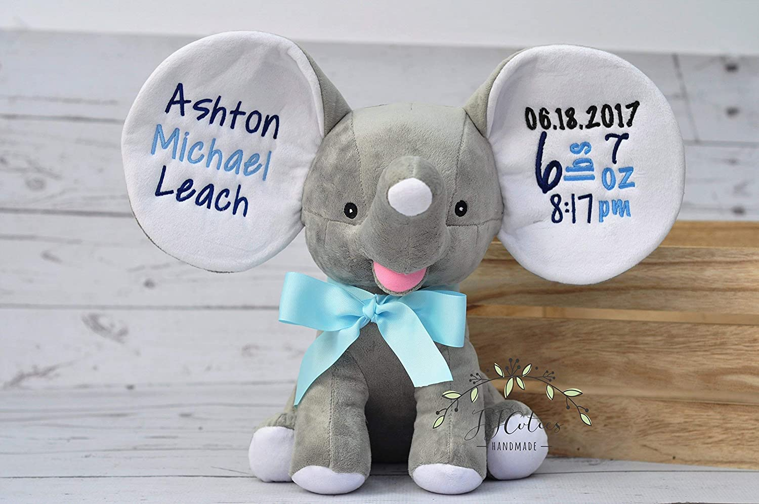 Cubbies Dumble Elephant-Personalized Birth Stat Elephant Gray Cubbies Cubby Animal-Personalized Stuffed Grey Elephant Cubbies Cubby