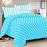 R R Textile House Vintana Presents 100% Cotton Blue With White Circles1 Bedsheet With 2 Pillow Cover