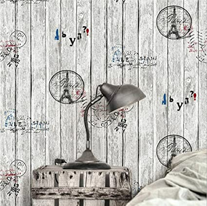 Distressed Wood Striped Wallpaper 3D Non-Woven Vintage Wallpaper for  Bedroom Living Room Dining Room Coffee House, 20.8inx32.8ft,Grey