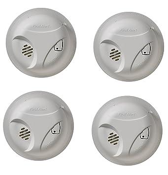 First Alert sa303cn funciona con pilas Detector de humos con botón de silencio (embalaje abrefácil), uunpyb (4 unidades): Amazon.es: Hogar