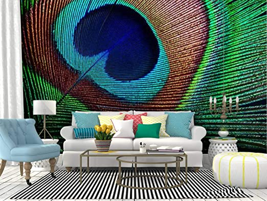 Amazon Com Skiwamural Self Adhesive Wallpaper Roll Paper Peacock Feather Colorfuls And Pictures Removable Peel And Stick Wallpaper Decorative Wall Mural Posters Home Covering Interior Film Home Kitchen