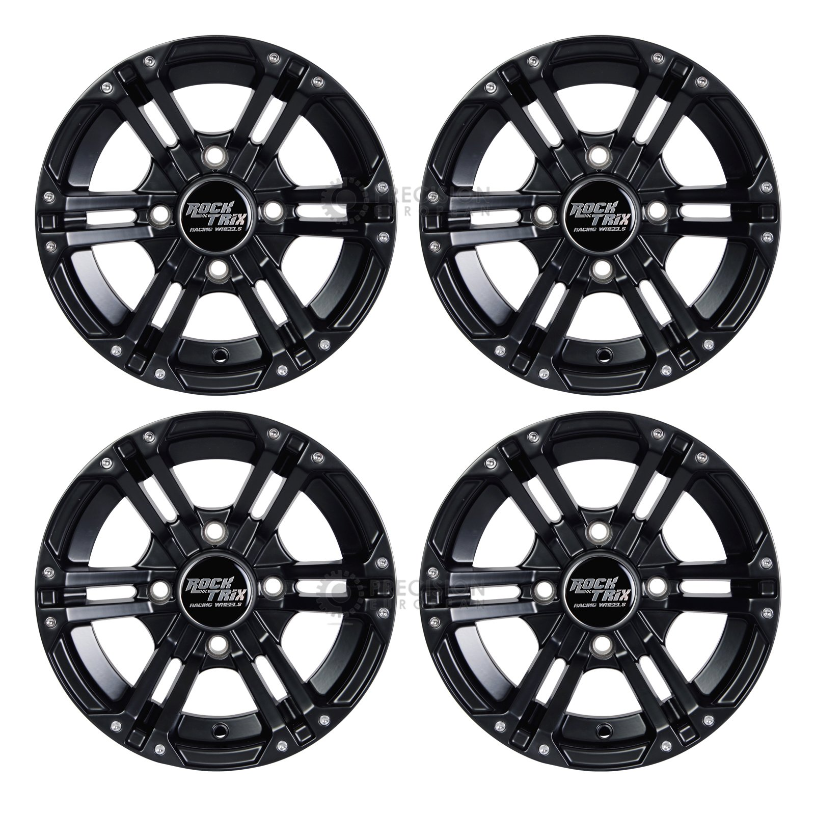 4pc 12'' RockTrix ATV Wheels 4x110 Rims | 12x7 | 5+2 Offset | IRS Vehicles - Honda Kawasaki Yamaha Rincon Rancher Brute Force King Quad Kodiak Grizzly Rhino 4/110 Independent Rear Suspension