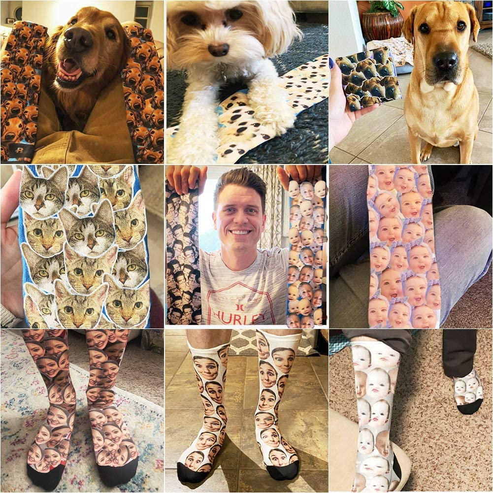 Custom Face Socks Personalized Crew Socks with Faces Customized Pet Face Socks for Men Women
