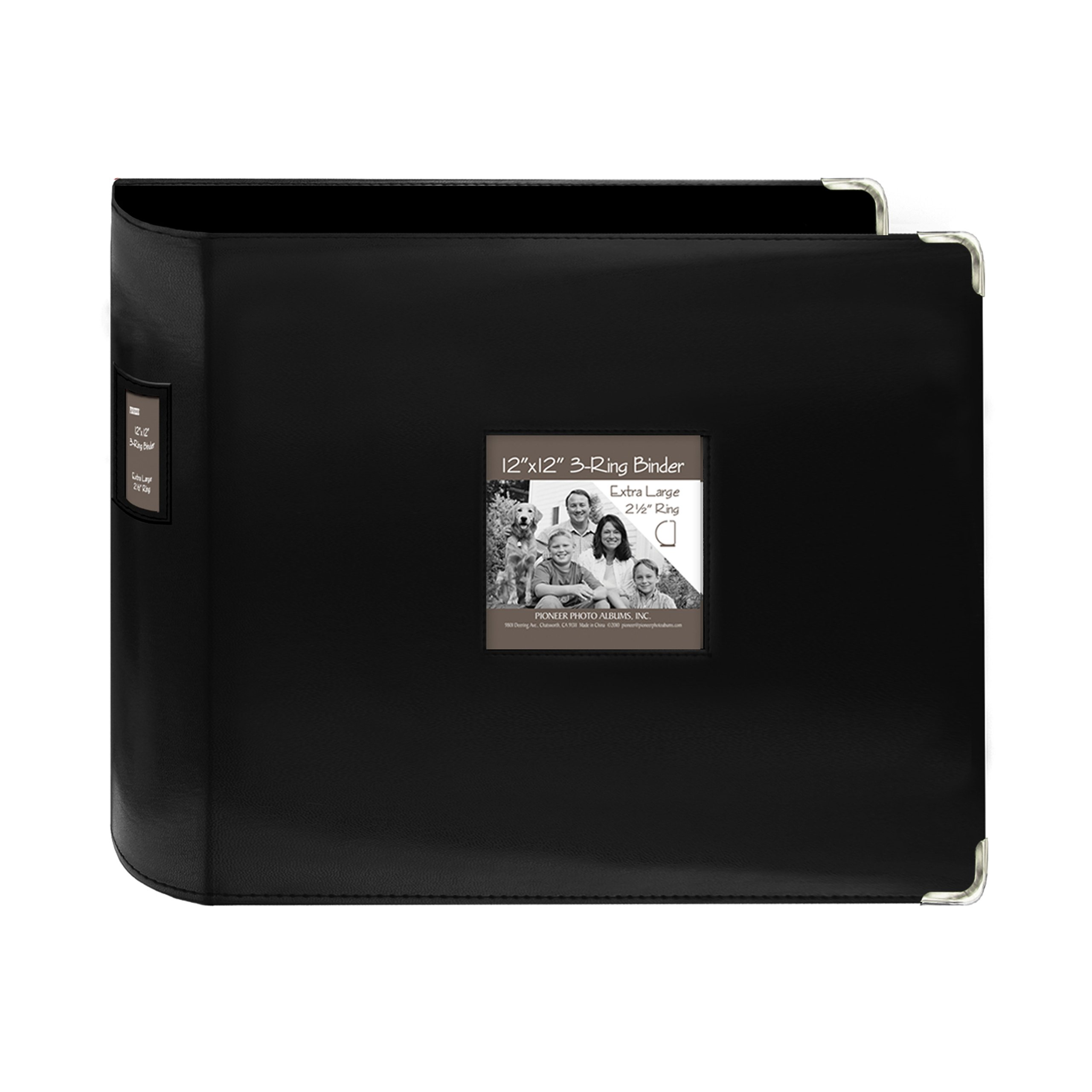 Pioneer T12JF-BK 12-Inch by 12-Inch Sewn Leatherette 3-Ring Binder, Black