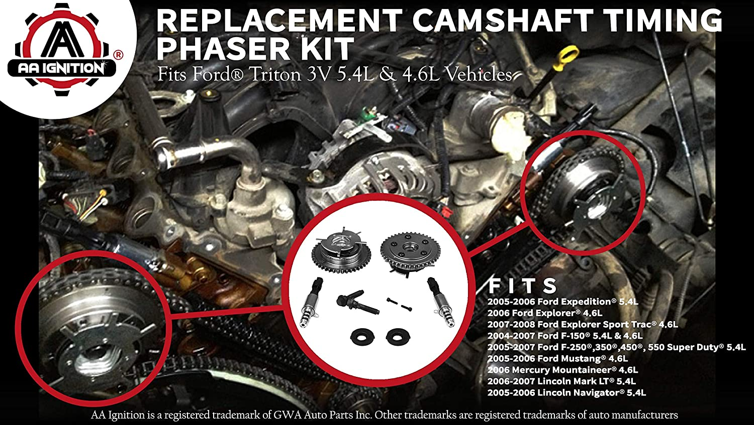Variable Camshaft Timing Cam Phaser Kit Replaces Ford F 250 Wiring Harness Repair Kits 3r2z6a257da 917 3l3z 6279 Dap 8l3z 6m280 B Fits 150 Expedition More