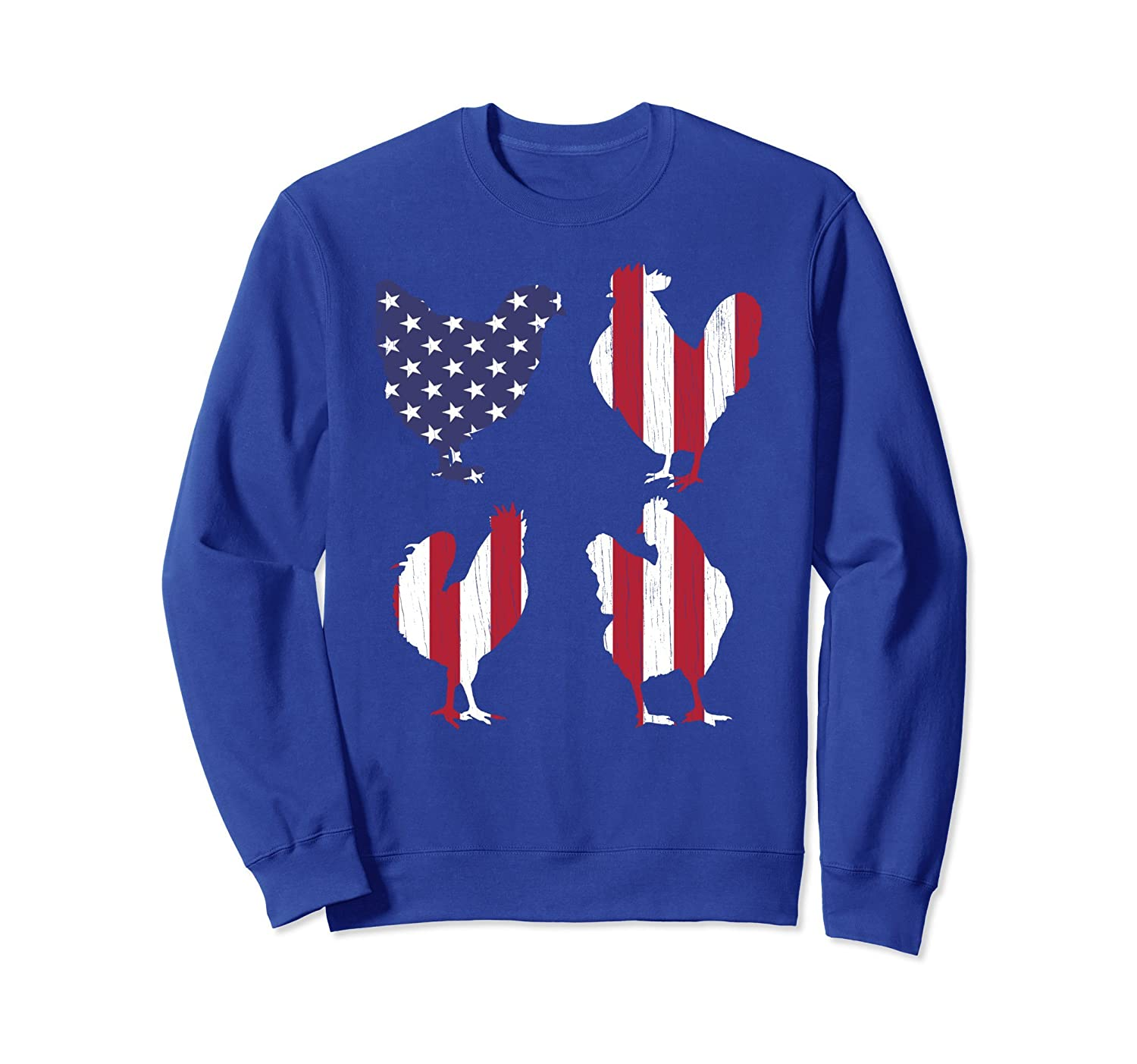 4th of July Sweatshirt American Flag Chicken Men Women USA-AZP