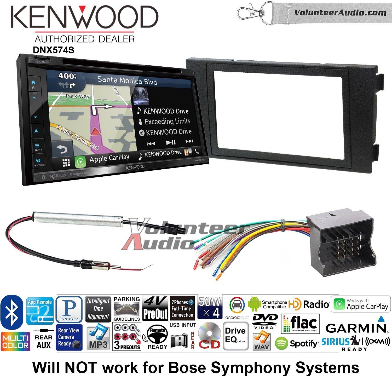 ボランティアオーディオKenwood dnx574sダブルDINラジオインストールキットwith GPSナビゲーションApple CarPlay Android自動Fits 1999 – 2006アウディa6 B07C1VQNRF
