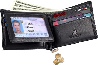 Mens Wallet LEATHER ID Pocket Black Soft Coin Pouch Section Money Purse Gents