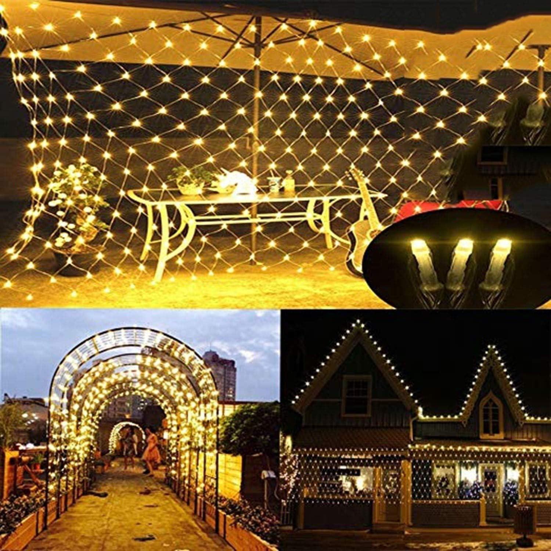 Net Lichterketten, Nettolichter, LED-Lichterketten, LED-Lichterketten, Weihnachtsbeleuchtung, 8 Modi Schnur-Lichter for Weihnachts-Geburtstags-Party Hochzeit Garten-Dekorationen, mit Schwanz, (Gelb) Yellow-20pcs-9.8x6.6ft