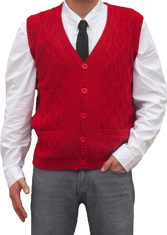 TINKUY PERU Peruvian Alpaca Wool Vest for Men Basic V Neck Button Up Cardigan Sweater Red