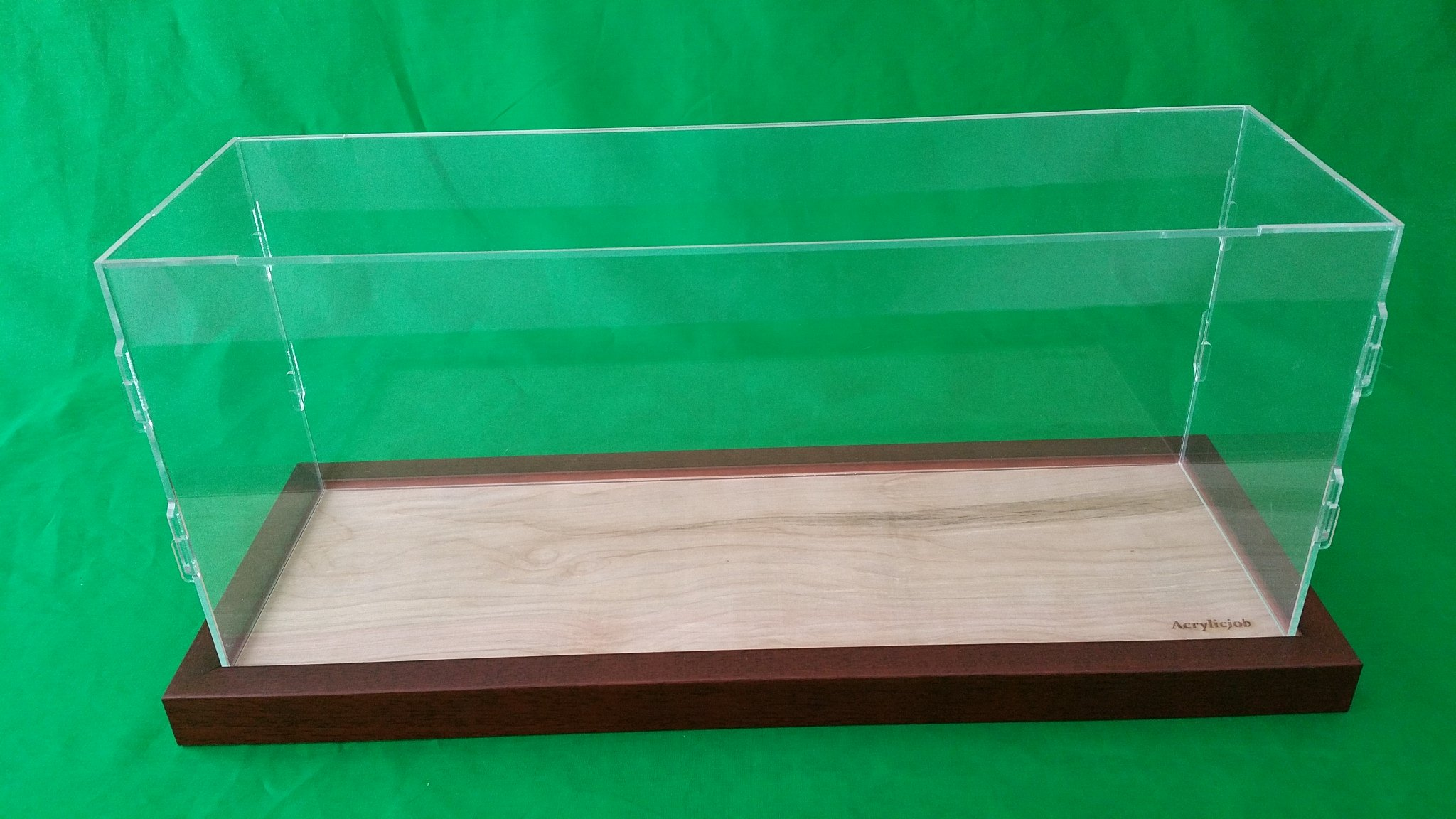 34''L x 14''W x 24''H Table Top Clear Acrylic Display Case for Model Ships Walnut base