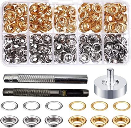 Black Metal Grommet Kits 4 Colors with Tools and Storage Box Luxiv Grommets Eyelets 6mm Sewing Eyelets Gold 1//4 Inch Grommet Kit 200 Sets Silver