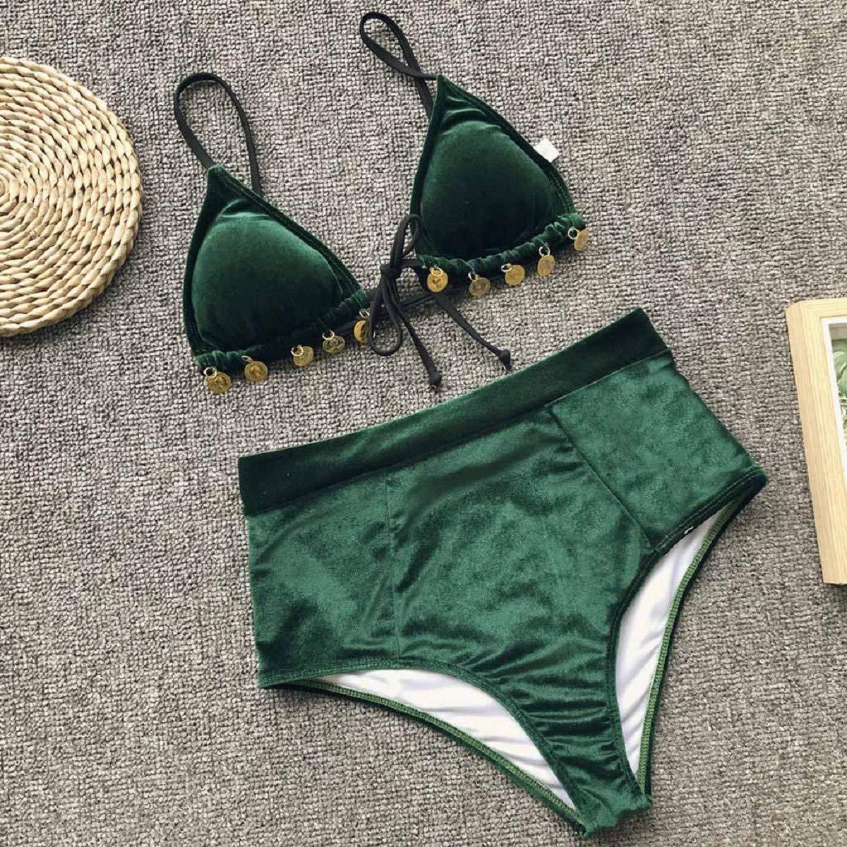 365f3e7f03f7f Amazon.com: OTINICE Women's Sexy Velvet High Waist Bikini Set Bandage Bathing  Suits 2 Piece Swimsuit: Clothing