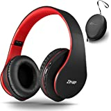 Wireless Over-Ear Headphones with Deep Bass, Foldable Wireless and Wired Stereo Headset Buit in Mic for Cell Phone, PC,TV, PC,Soft Earmuffs &Light Weight for Prolonged Wearing (Black/red)