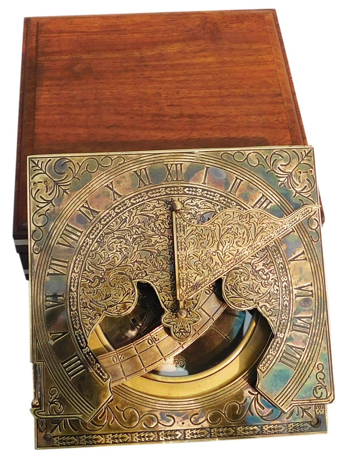 Nautical Style Antique Brass Sundial Compass Nautical Stand Compass With Box by Sara Nautical