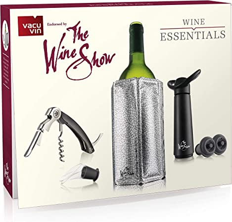 The Wine Show by Vacu Vin Wine Saver Gift Pack Black 7 x 3.6 x 12.7 cm