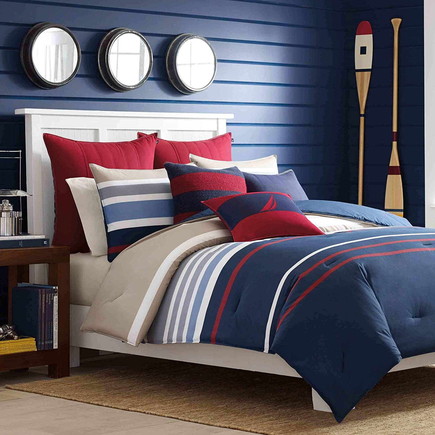 Nautica Bradford Collection 100 Percent Cotton Cozy and Soft, Durable and Breathable Striped Reversible Comforter Matching Shams, 3-Piece Bedding Set, Queen, Navy/Khaki