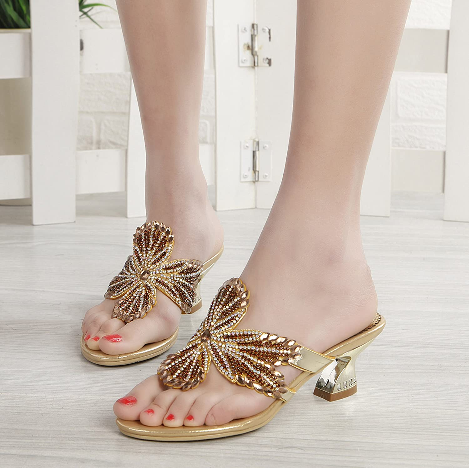 Abby Womens Comfort Flip Flops Fashion Leather Low Heel Sandals B071R3V4X8 5 B(M) US|Gold(6cm)