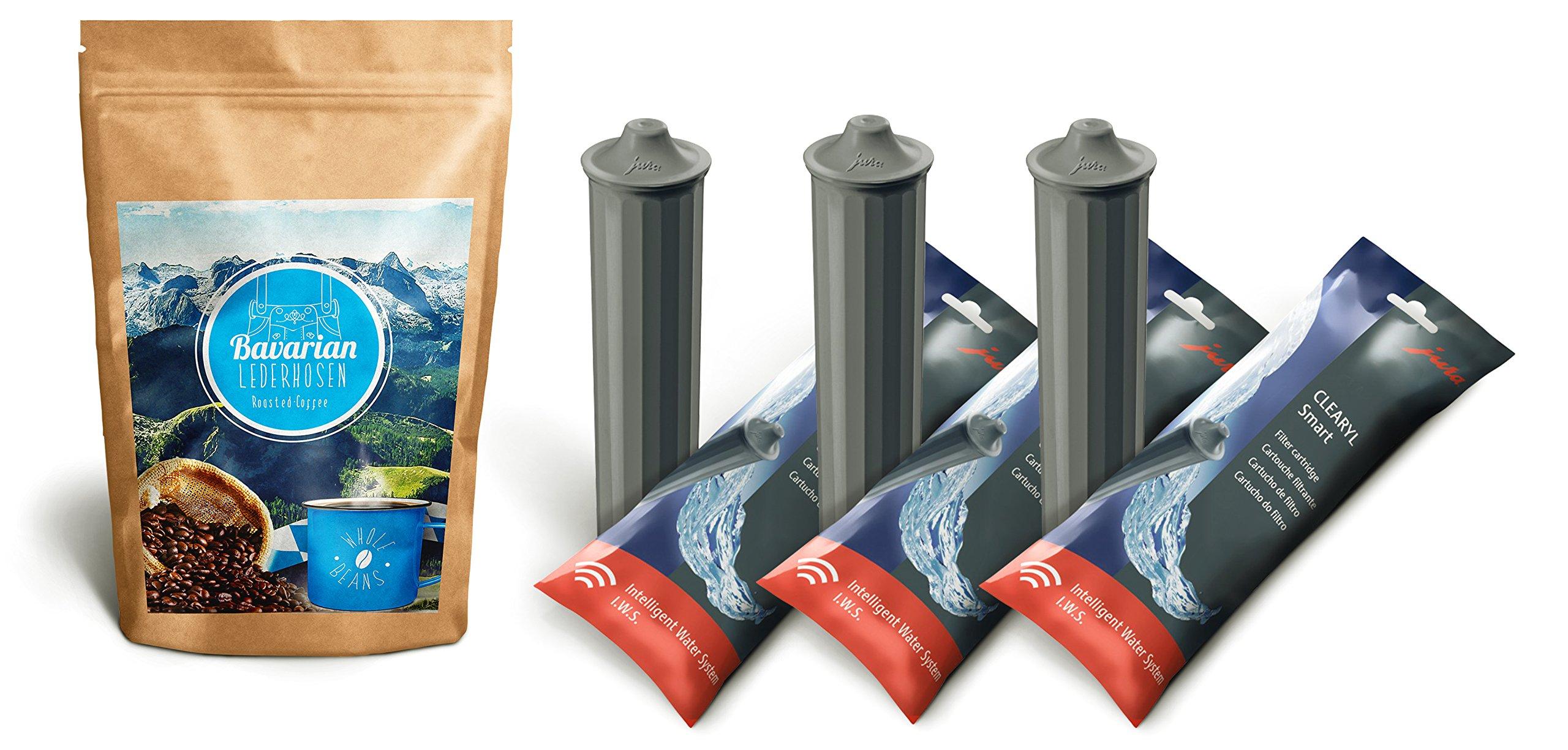 Bavarian Lederhosen Whole Beans Coffee 8.8 oz & 3 Jura Clearyl/Claris Smart Filter Cartridges by Bavarian Lederhosen Roasted Coffee