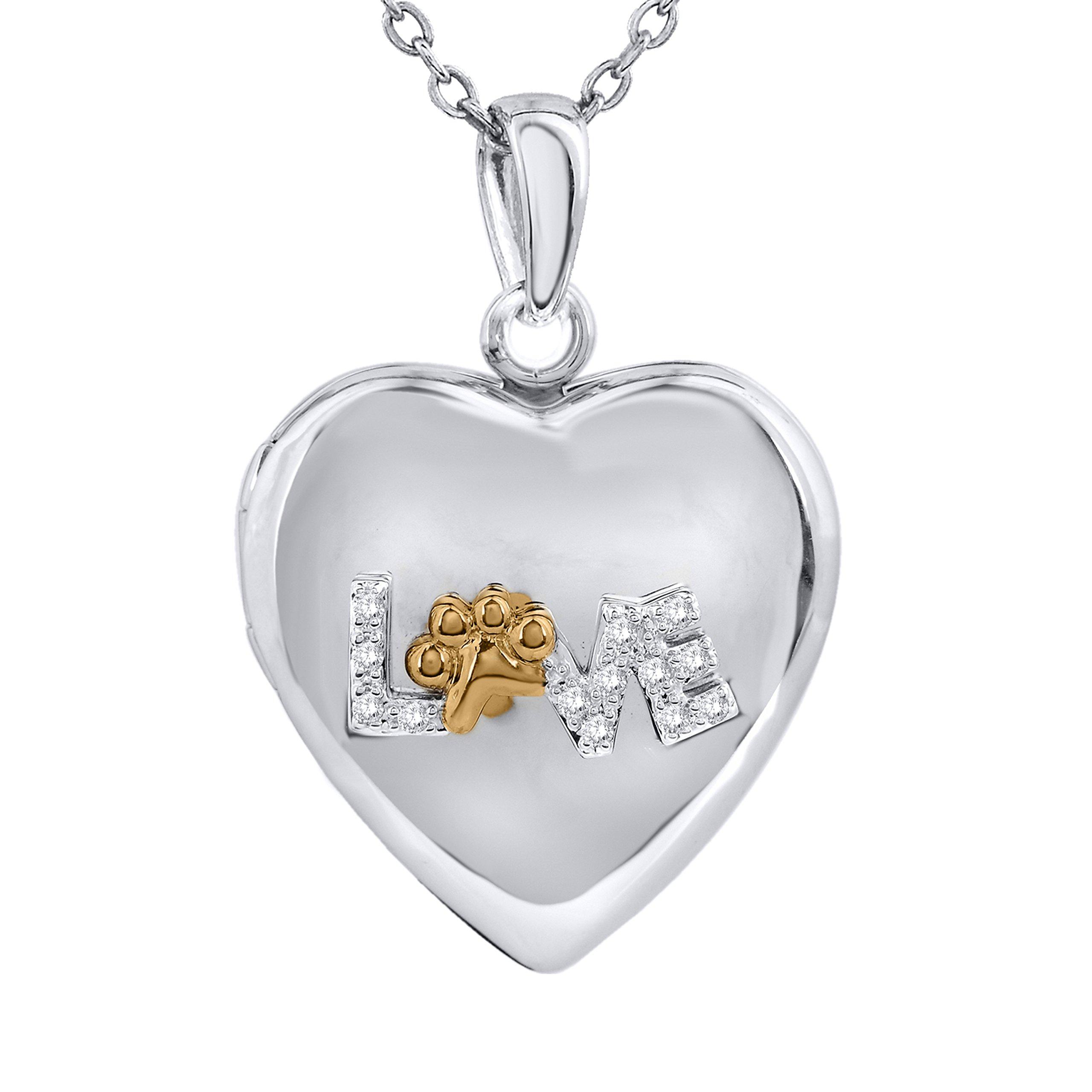 Tender Voices Silver Two-Tone Diamond Love Paw Locket Pendant
