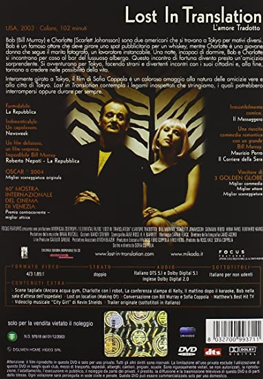 Lost in translation [Italia] [DVD]: Amazon.es: Anna Faris, Scarlett Johansson, Bill Murray, Giovanni Ribisi, William Storkson, Sofia Coppola, Anna Faris, Scarlett Johansson: Cine y Series TV