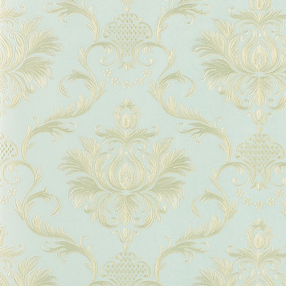 Wopeite Damask European Vintage Luxury Wallpaper Gold Embossed Textured Paper Non-Woven Home Decor for Living Room Bedroom TV Backdrop light Blue
