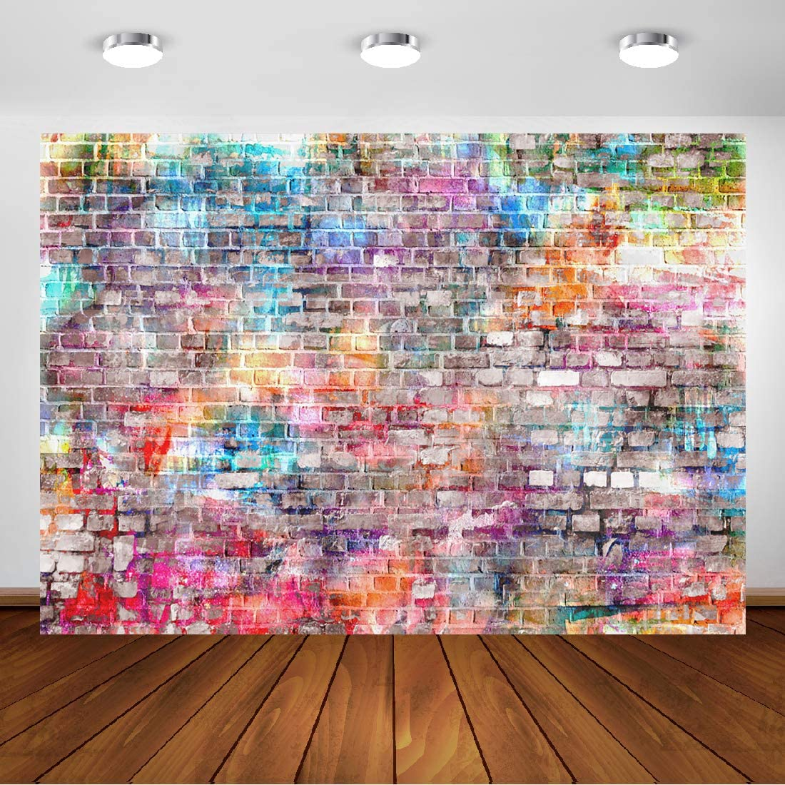 Backdrop Graffiti Brick Wall Art Fabric Backdrop Photography Background 7E